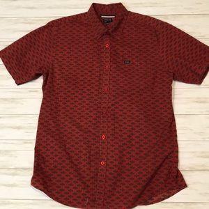 🔥 RVCA men's L red button up shirt sleeve shirt